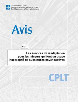 Avis sur les services de réadaptation pour les mineurs qui font un usage inapproprié de substances psychoactives